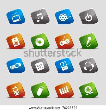 Cut Squares - Media Icons - stock vector