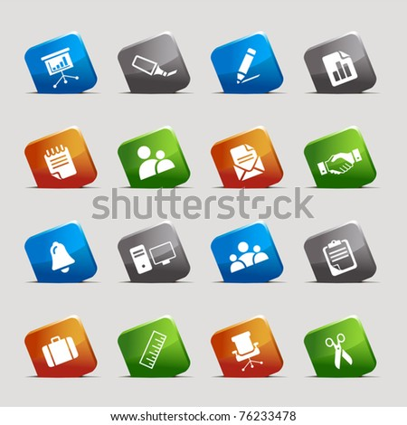 Cut Squares - Office and Business icons - stock vector