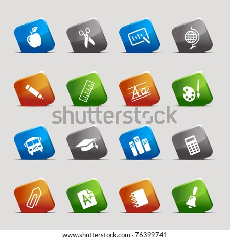 Cut Squares - School Icons - stock vector