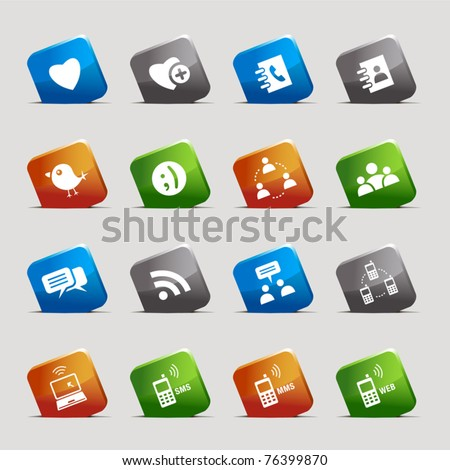 Cut Squares - Social media icons - stock vector