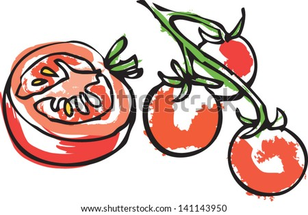 Cut Tomato Drawing Cut Tomato With Tomatoes on