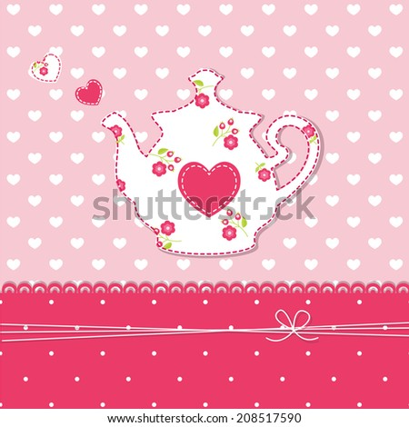 Cute abstract background with teapot - stock vector