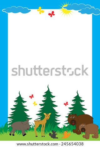 Cute, abstract frame with cheerful forest animals