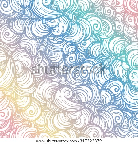 Cute Abstract Vector Background Wallpaper Hand Drawn Waves Swirls And Clouds Pattern