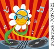Cute active Dj Daisy Flower mixing music for spring party - stock vector