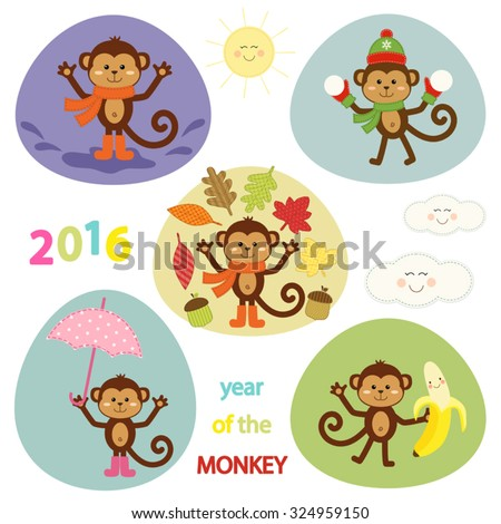 Cute adventures of little monkey - symbol of the year.