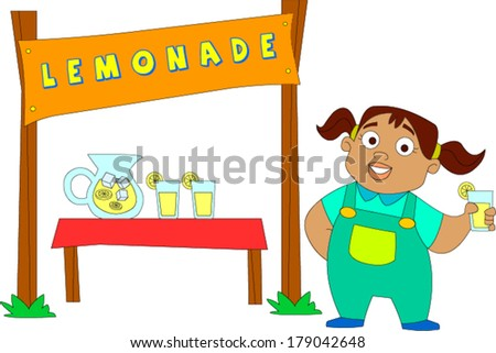 Cute African American little girl at lemonade stand - stock vector