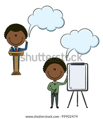Cute African-American office worker at a conference - stock vector