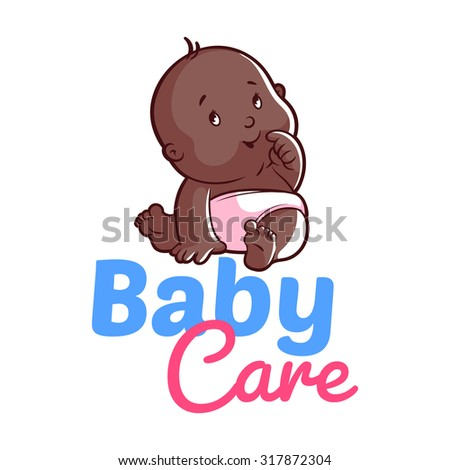 Cute African American  toddler in diaper. Vector illustration on a white background. Baby care logo - stock vector