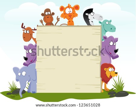 cute african animal with blank sign vector