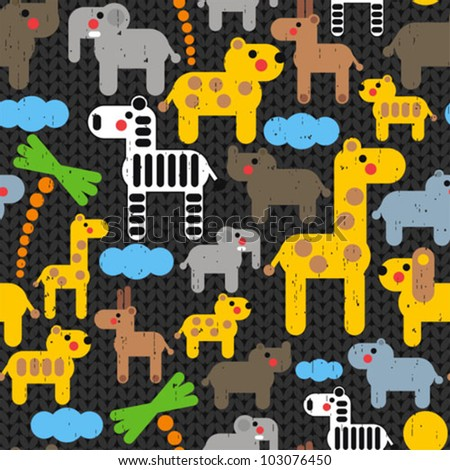 Cute african animals seamless pattern. Vector textured illustration. - stock vector