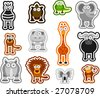 cute african animals set - stock vector