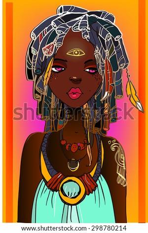 cute african girl - stock vector