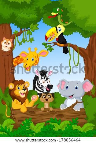 Cute African safari animal cartoon characters scene - stock vector