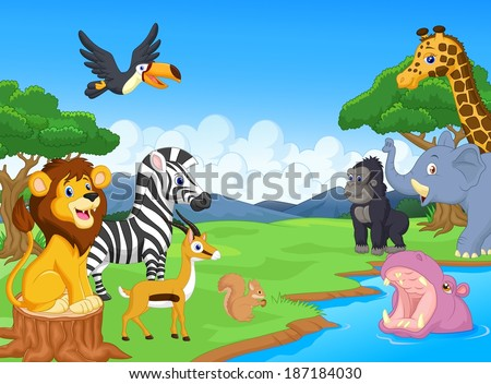 Cute African safari animal cartoon characters scene - stock vector