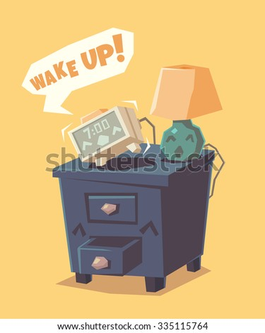 Cute alarm clock shouts Wake up!. Vector illustration. - stock vector