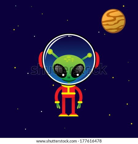 cute alien character and space element on stars background - stock vector