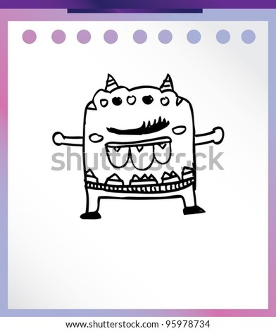 cute alien monster cartoon doodle vector - stock vector