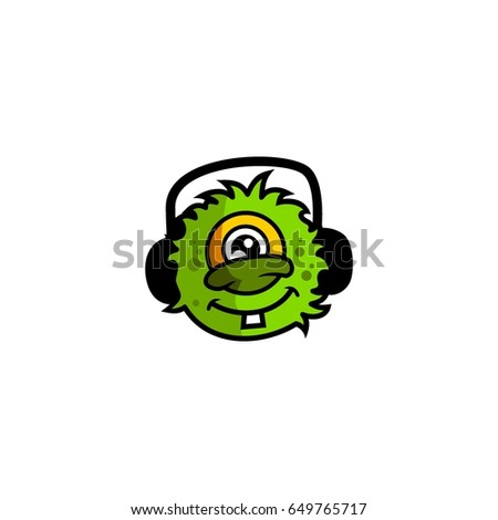 Cute aliens head logo character vector