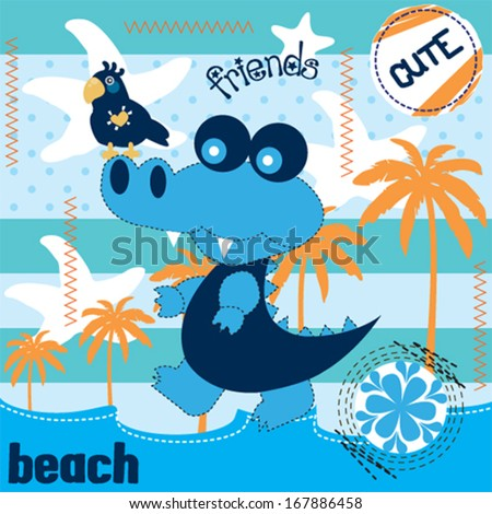 cute alligator and parrot on the beach vector illustration - stock vector
