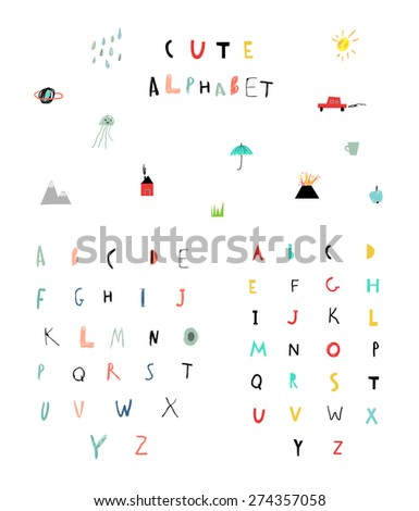 Cute alphabet. Hand Drawn Letters. Learn to read. Isolated. - stock vector