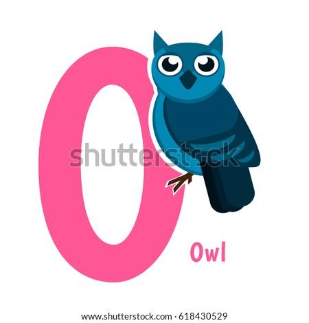 Cute Alphabet Letter Birds Owl O Stock Vector (Royalty ...
