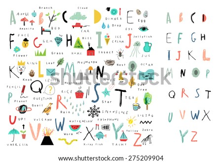 Cute alphabet. Letters and words. Learn to read. Isolated. - stock vector