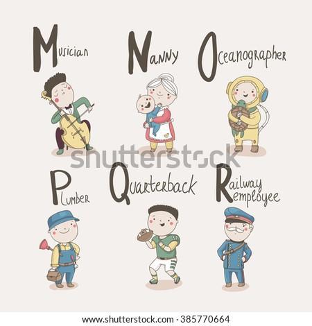 Cute alphabet Profession. Letters: M - Musician, N - Nanny, O - Oceanographer, P - Plumber, Q - Quarterback and R - Railway Employee. - stock vector