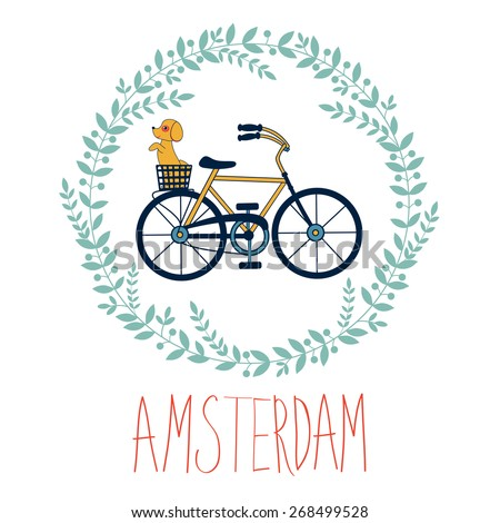 Cute Amsterdam card with dog in bicycle basket in floral wreath. vector illustration - stock vector