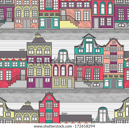 Cute Amsterdam houses seamless pattern - stock vector
