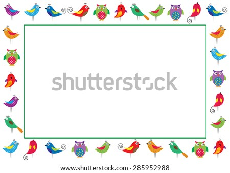 Cute and abstract frame with colorful birds - stock vector