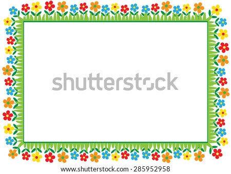 Cute and abstract frame with colorful flowers - stock vector