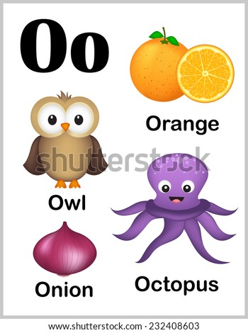 words with the letter o colorful alphabet letter o set stock vector 232408603 50328