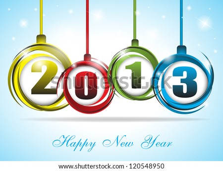 Cute and colorful card on New Year 2013. Clip-art - stock vector