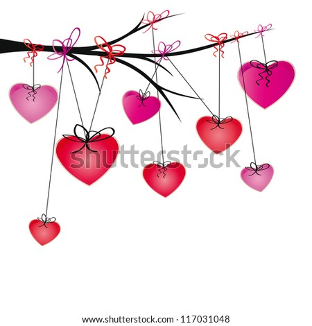 Cute and colorful harts hang on brand - stock vector