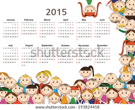 Cute and colorful kids calendar on 2015 year - stock vector