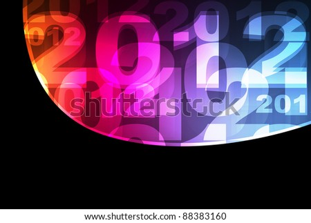 Cute and colorful 2012 neon New Years sign background - stock vector