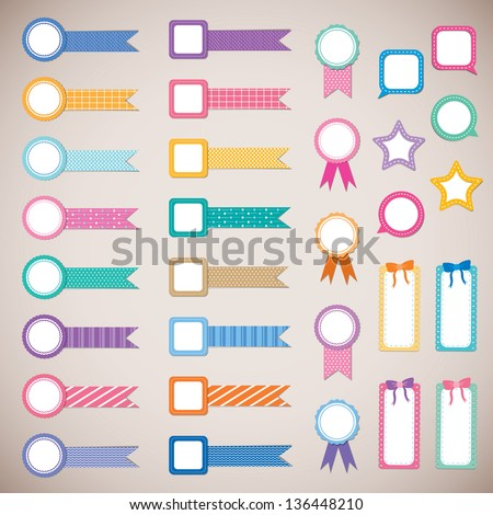 cute and colorful ribbon label for scrapbook and photo album design - stock vector