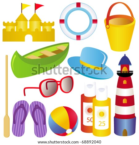 Cute and colorful vector Icon Set : Summer, sand, sea, SPF, sandals - stock vector