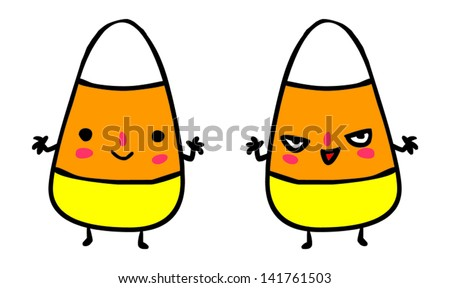 Cute Evil Halloween Candy Corns Vector Stock Vector 141761503 ...