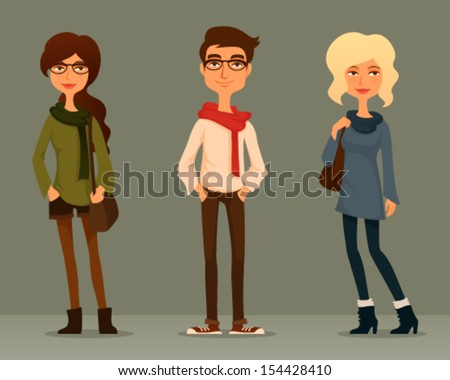 cute and funny cartoon illustration of young people with hipster fashion - stock vector