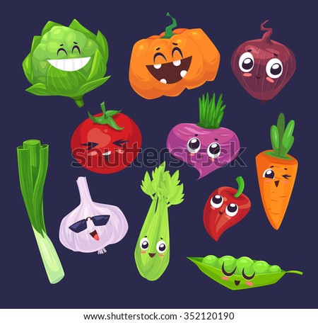 Cute  and funny cartoon vegetables characters. Best friends set two. Vector stock illustration