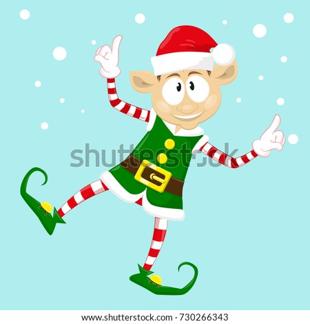 Cute Funny Character Merry Christmas Elf Stock Vector (Royalty Free ...