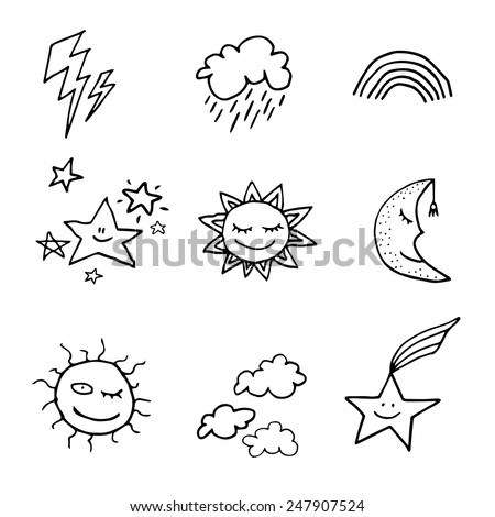 Cute and funny doodle style weather icons set. Black icons isolated on white background - stock vector