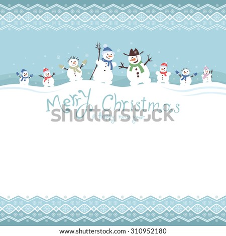 cute and funny family snowmen. Template Christmas cards. vector illustrations - stock vector