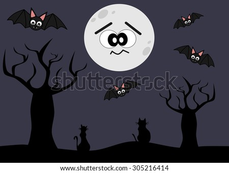 cute and funny halloween cartoon vector background illustration