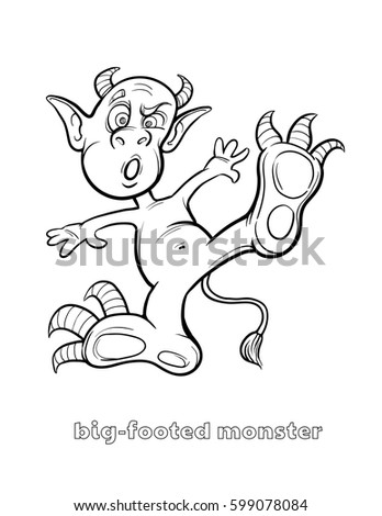 Cute and Funny Halloween Monster Coloring Page - Big-Footed Monster