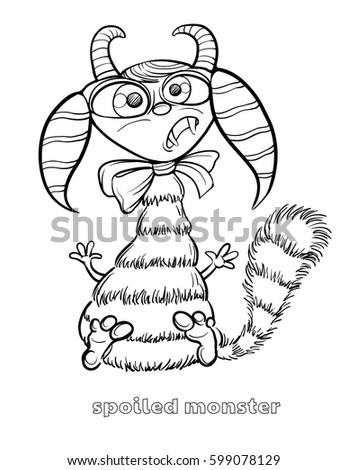 cute and funny halloween monster coloring page spoiled monster - Halloween Monsters Coloring Pages