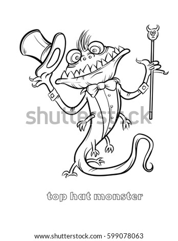 Cute Funny Halloween Monster Coloring Page Stock Vector 599078063 ...