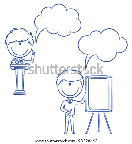 Cute and funny office worker at a conference - stock vector